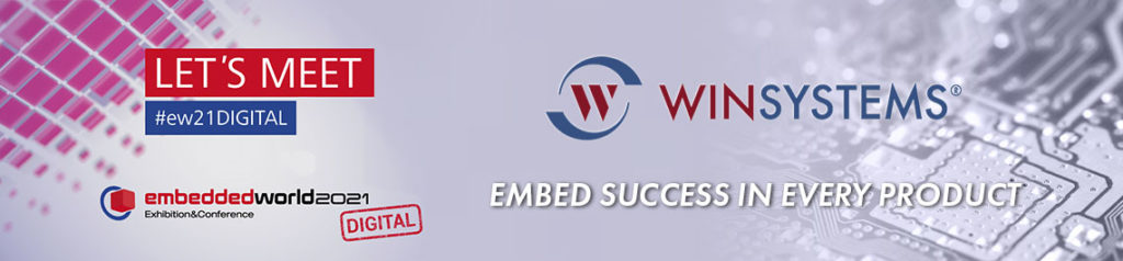 Abstract graphic promoting WINSYSTEMS and the Embedded World 2021-Digital virtual trade show